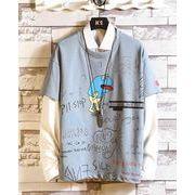 メンズ新作Tシャツ カットソー 長袖トップス カジュアル ブルー/ベージュ/レッド3色