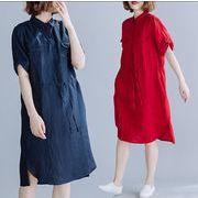 【春夏新作】ファッションワンピース♪アカ/ダークブルー2色展開◆