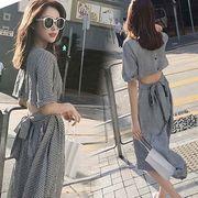 2色 夏 の新作★韓国ファッション可愛セクシー レディーズ 合わせやすい カジュアル 半袖ワンピース