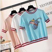 【大きいサイズXL-4XL】ファッション/人気Tシャツ♪ホワイト/ブルー/ピンク3色展開◆