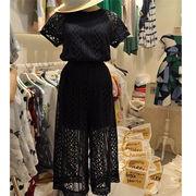 韓国ファッション オーバーオール 透け編み ハイウエスト 体型カバー 着痩せ ワイドパンツ