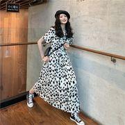 韓国ファッション可愛 レディーズ 合わせやすい カジュアル   ブラック  ドット  半袖 シフォンワンピース