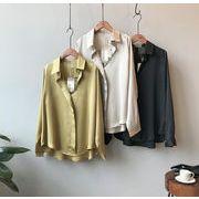 YUNOHAMI  全3色  新しいデザイン ワイシャツ 長袖 絹織物 トップス シャツ ゆったり おしゃれ 無地 気質