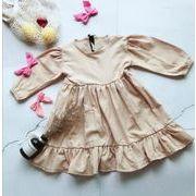 秋 子供 ワンピース 女の子 シンプル ファッション カジュアル 綿麻 長袖