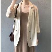 YUNOHAMI テーラードジャケット 薄手 カジュアル レディース トップス 通勤 ベーシック 七分袖 三色展開