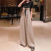 韓国ファッション 可愛い  合わせやすい カジュアル  サロペット ロングパンツ