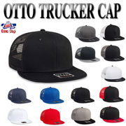 OTTO Cotton Twill Round Flat Visor 6Panel Mid Profile Style Mesh Back Trucker 17866
