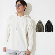 2019新作 メンズ レディース ロング丈 ワッフル サーマル 無地 プルオーバー パーカー 長袖 Tシャツ