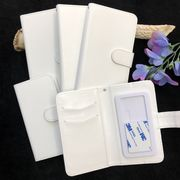 ★印刷 デコ素材★手帳型スマホケース(光沢/白色)★スライド式でほぼ全機種対応★【5サイズ】