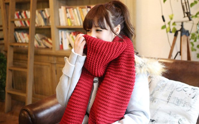 ニットマフラー 手編み風マフラーストール 無地マフラー プレゼント 防寒 厚め秋冬 カップル バレンタイン