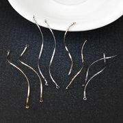 10個 チャーム 真鍮製 柳の枝 S型 カット 金 銀 2サイズ イヤリング ピアス シンプル デコパーツ