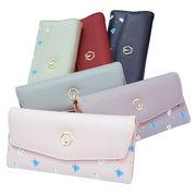 New【かぶせタイプ3つ折り長財布】フリーフ柄がお洒落 大きく開く便利でモダンな財布