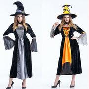ハロウィン 万聖節 cosplay コスプレ衣装大人 全2色 ワンピース+帽子 魔法使い 魔女衣装 万聖節