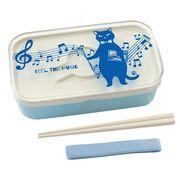 【ネコ/CAT(猫)】ランチボックス2段(箸付き) ネコ先生&音符