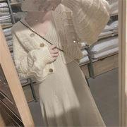 着痩せ効果  新品 ランタンスリーブ レトロ ウール カーディガン セーター 短いスタイル コート