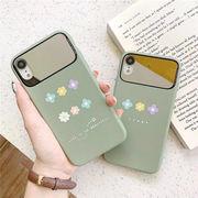フラワー柄 女性向け オシャレ iPhoneXS ケース 鏡付き スマホケース