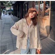 YUNOHAMIツイードコートアウター 韓国ファッション 長袖 ラペル ショートカーディガン カットオフ 秋冬