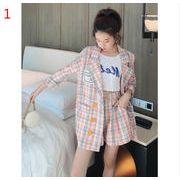 YUNOHAMI韓国風セットアップ チェック柄 長袖 中長スタイル スーツ+ ハイウエスト ワイドパンツ 半ズボン
