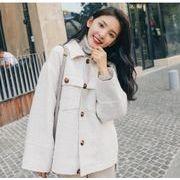 YUNOHAMIコートアウター 韓国ファッション 長袖 シャツカラー ショート丈 ウールコート シンプル 秋冬