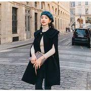 YUNOHAMIコートアウター 韓国ファッション ラペル 中長スタイル ウールコート マント ボタン留め 秋冬