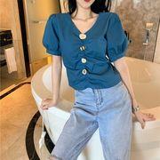 新しいデザイン ファッション 女性服 ネイル バックル デザイン 感 パフ 短いスタイル