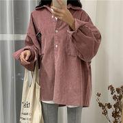 秋 新しいデザイン 韓国風 アンティーク調 単一色 コーデュロイ ピット 枚 シャツ ア