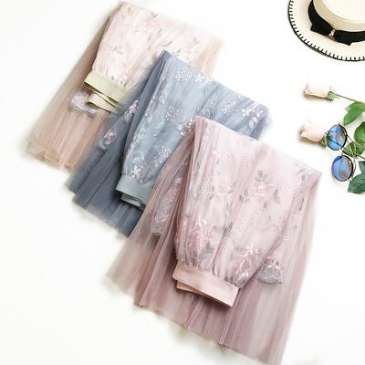 [Romance衣装]高級マキシスカート チュチュスカート 大人 上質ふんわりチュールスカート ロング 春夏刺繍