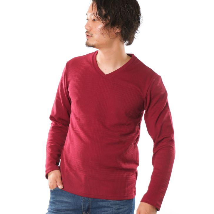 【2019秋冬新作】 長袖Tシャツ メンズ Vネック ジャガード グレンチェック ロングTシャツ ロンT カットソー
