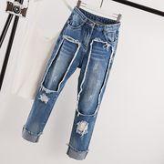 新品入荷韓国ファッション デニム  デニム ロング レディース ゆったり/デニム Z15ジーンズ パンツ
