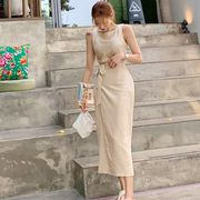 夏2色★最強の新作ins★韓国ファッション可愛 レディーズ 合わせやすい カジュノースリーブワンピース