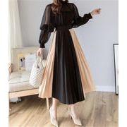 華やかな印象に 新品 秋冬物 シフォン 縫付 ハイウエスト スリム 個性 プリーツスカート