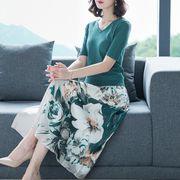 S~3L★結婚式 二次会  パーティー  披露宴 ニットTシャツ 花柄プリントスカート 2点セット