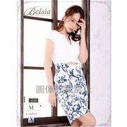【Belsia】お腹見せ!ハイウエスト切り替え花柄ミニドレス 袖付きキャバクラドレス*502455