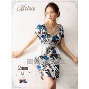 【Belsia】ペンタゴンネック大人flower袖付きミニドレス サイドペプラムキャバクラドレス