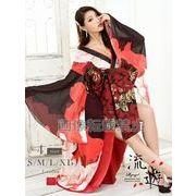 【流遊】盛り帯花柄シフォン花魁ドレス【Ryuyu】和柄着物ロングドレス(S/M/L/XL)(レッド)*504519