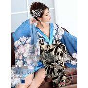 【流遊】大きいサイズ完備!!盛り帯モダン花柄着物ドレス【Ryuyu】キャバクラ花魁ロングドレス*504523