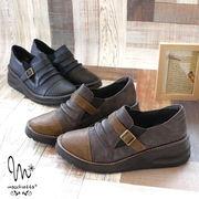 スリッポンシューズ 靴 レディース 厚底 歩きやすい ベルト バイカラー ウェッジソール