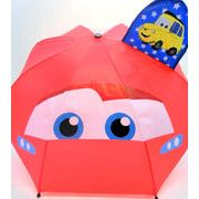 【雨傘】【ジュニア用】カーズ1駒透明耳付き手開き傘