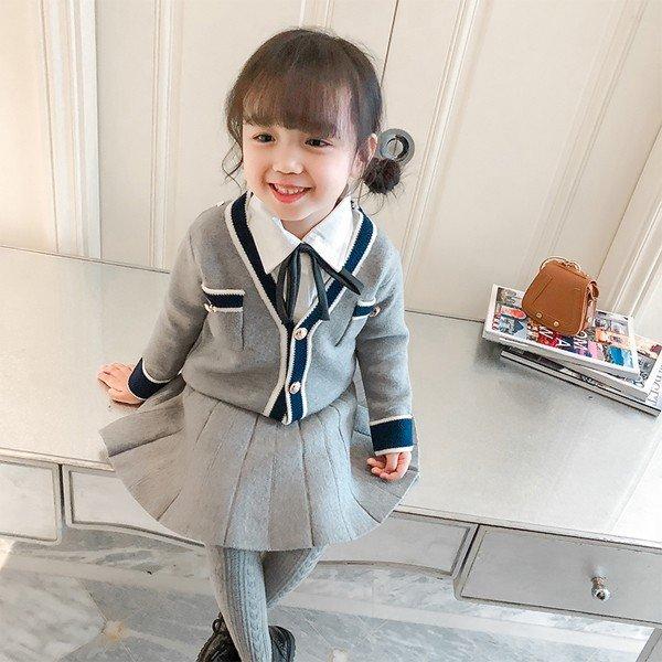 正月 2点 子供服 スーツ フォーマル女の子 秋着 長袖 スカート