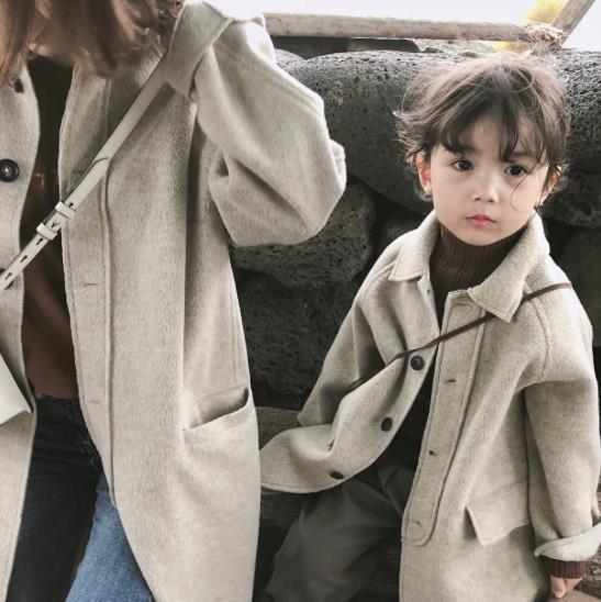 厚手 ラシャ 女の子 ママ 親子服 子供 キッズ ジャケット コート 冬 防寒