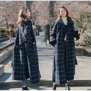 YUNOHAMIコートアウター 韓国ファッション 長袖 ラペル チェック柄 ロングウールコート リボン付き 秋冬