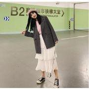 YUNOHAMIコートアウター 韓国ファッション 長袖 グレンチェック 小さなスーツ カジュアル 学生風 秋冬