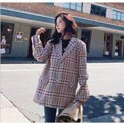 YUNOHAMIコートアウター 韓国ファッション 長袖 チェック柄 小さなスーツ キャンデー色 おしゃれ  秋冬