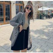 YUNOHAMIコートアウター 韓国ファッション 千鳥格子 長袖 ダブルボタン 小さなスーツ ゆったり 秋冬即納