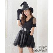 Let'sハロウィンパーティ!!4点セット/魔女ミニワンピース ハロウィン コスプレ 仮装 衣装