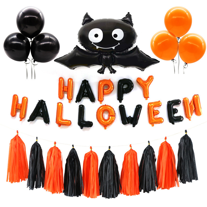 激安!ハロウィン雑貨★部屋 クラブ店舗装飾★Happy Halloween バッド★風船 タッセル セット