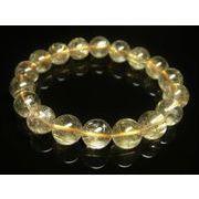 写真現物一点物】 ゴールドタイチンルチルブレスレット 金針水晶数珠 11ミリ Rx41