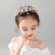 ヘッドドレス 誕生日プレゼント 髪飾り キッズ 女の子  プリンセス 王冠 ビーズ付き ボンネ カチューシャ