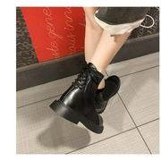 韓国ファッション ショートブーツパー スエード調 太ヒール ショートブーツ 靴カジュアルシューズ
