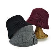 後変りリボン付帽体クロッシェ レディース帽子